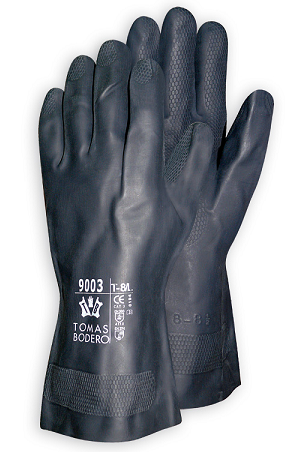 GUANTE BODERO LATEX NEOPRENO FLOCADO NEGRO (10 pares)