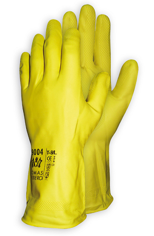 GUANTE BODERO LATEX FLOCADO AMARILLO (10 pares)