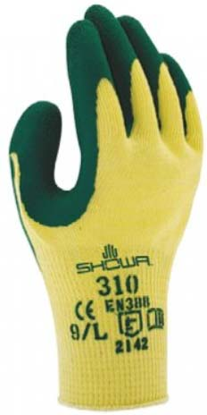 GUANTE LATEX SHOWA 310 AMARILLO-VERDE (10 pares)